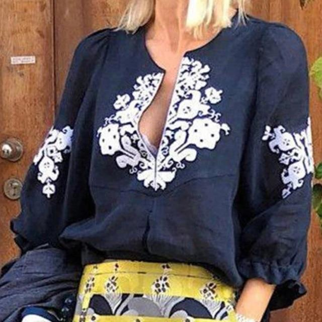 V neck Casual Tribal Printed Frill Sleeve Blouses Tops AmericanGalore Blue S