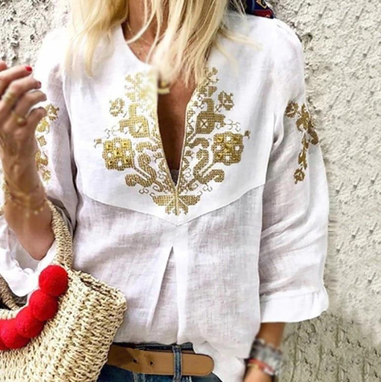 V neck Casual Tribal Printed Frill Sleeve Blouses Tops AmericanGalore White S