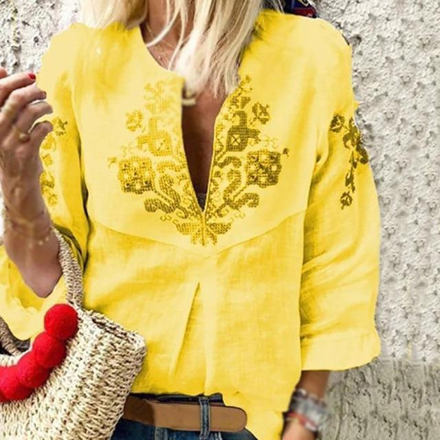 V neck Casual Tribal Printed Frill Sleeve Blouses Tops AmericanGalore Yellow S