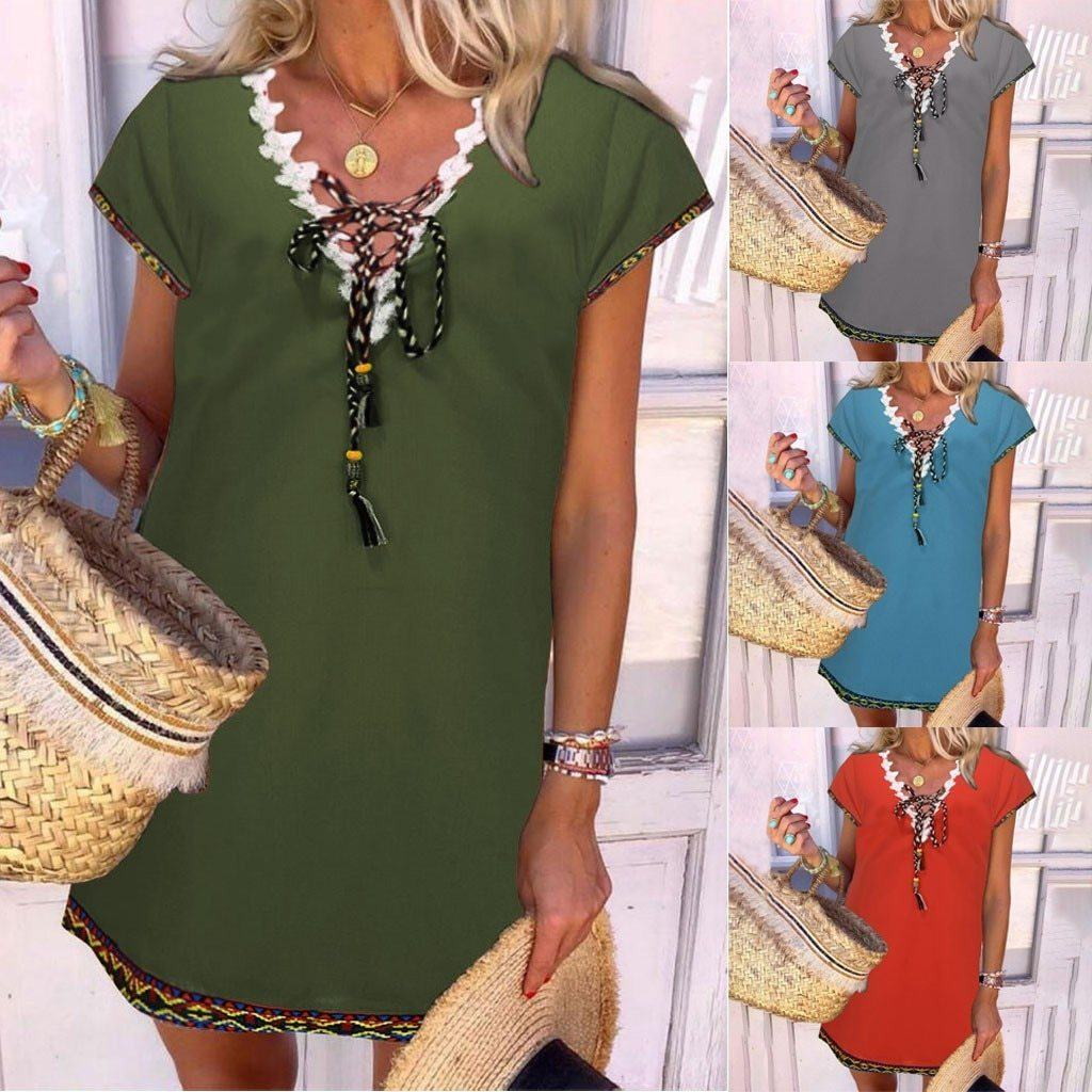 Women' s Bohemian Holiday Daytime Shift Mini Dress Tops - New York Galore