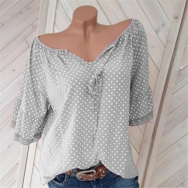 Women V-Neck Polka Dots Half Sleeve Blouses AmericanGalore Grey S
