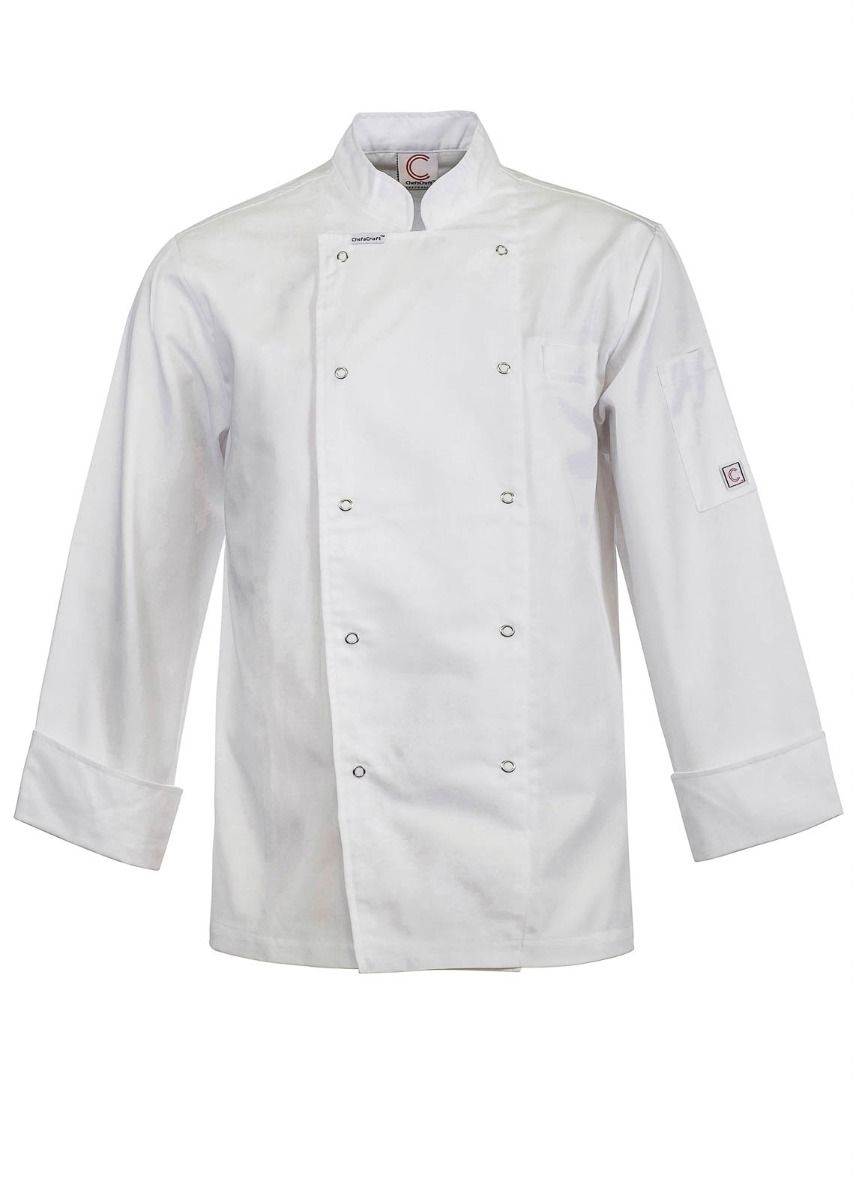 CJ039 EXECUTIVE CHEFS JACKET WITH PRESS STUDS - LONG SLEEVE - $44.00 (GST incl)