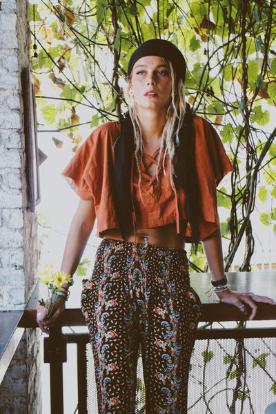 Uluru Lace Up Crop Top - Burnt Orange