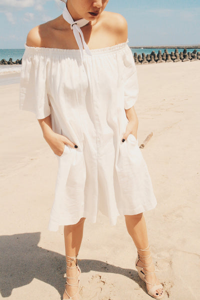 Olympia Off Shoulder Short Jumpsuit Eyelet Necktie - White