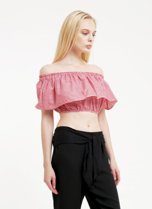 Ella Top - Gingham Red