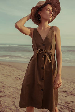 Sleeveles Trench Dress - Brown