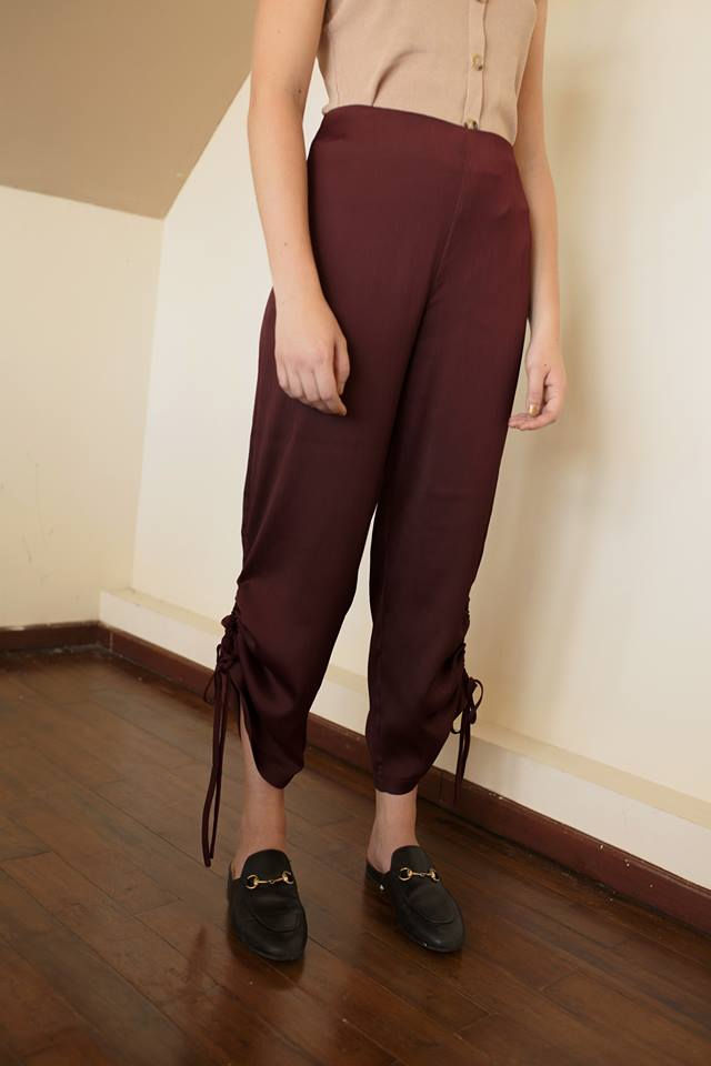 Satin Pants - Maroon