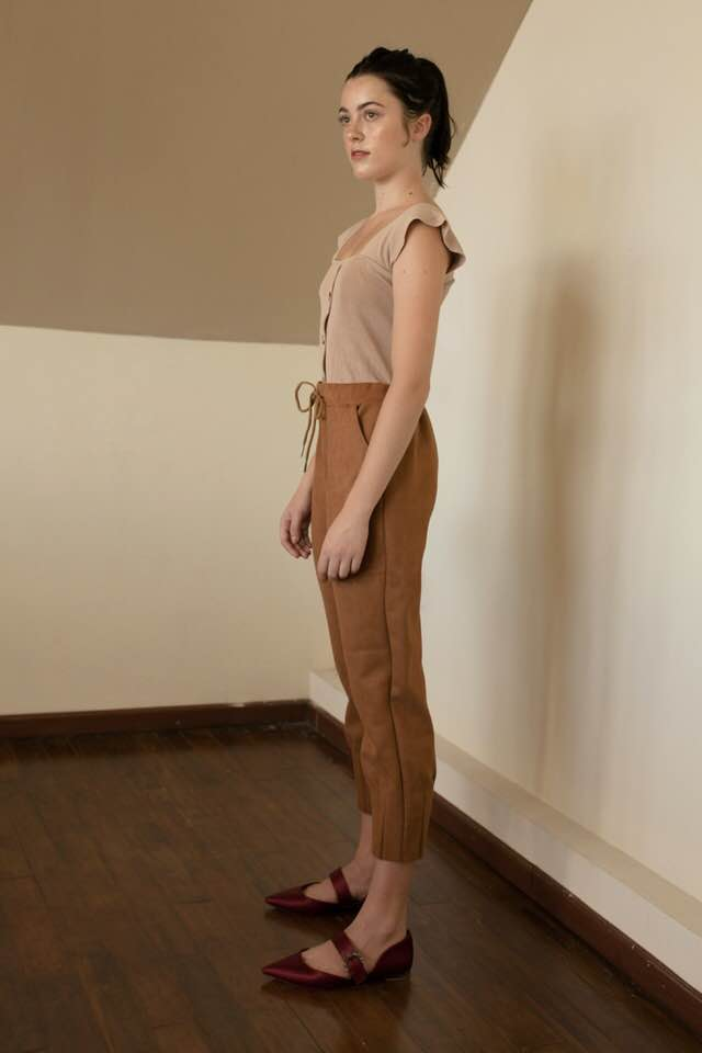 Suede Drawstring Pants - Brown