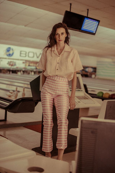 Pink Checked Structured Pants
