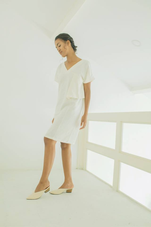 Linen Shift Dress - White