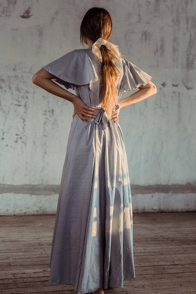 Coraline Linen Maxi Dress - Light Blue