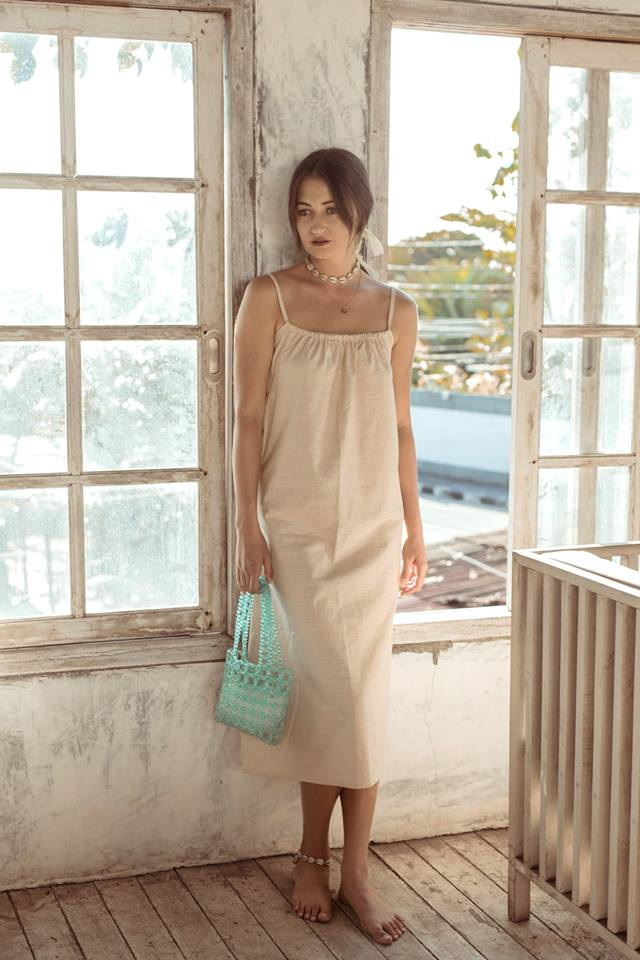 Ula Linen Slip Dress - Stone