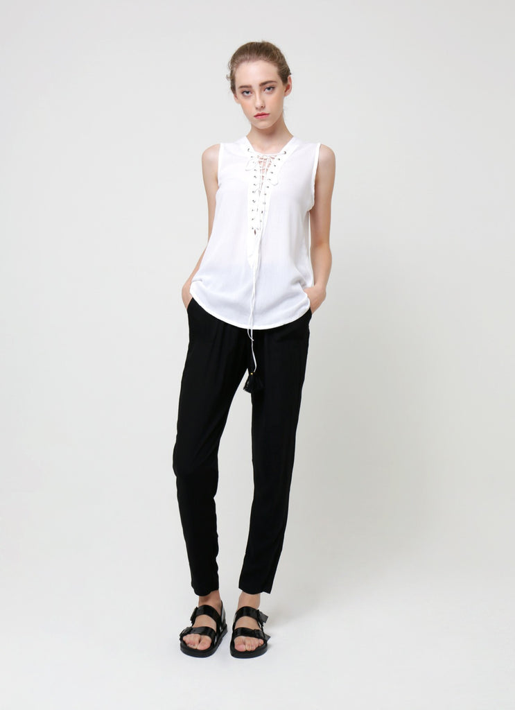 Lou Lou Lace Up Sleeveless Blouse - White