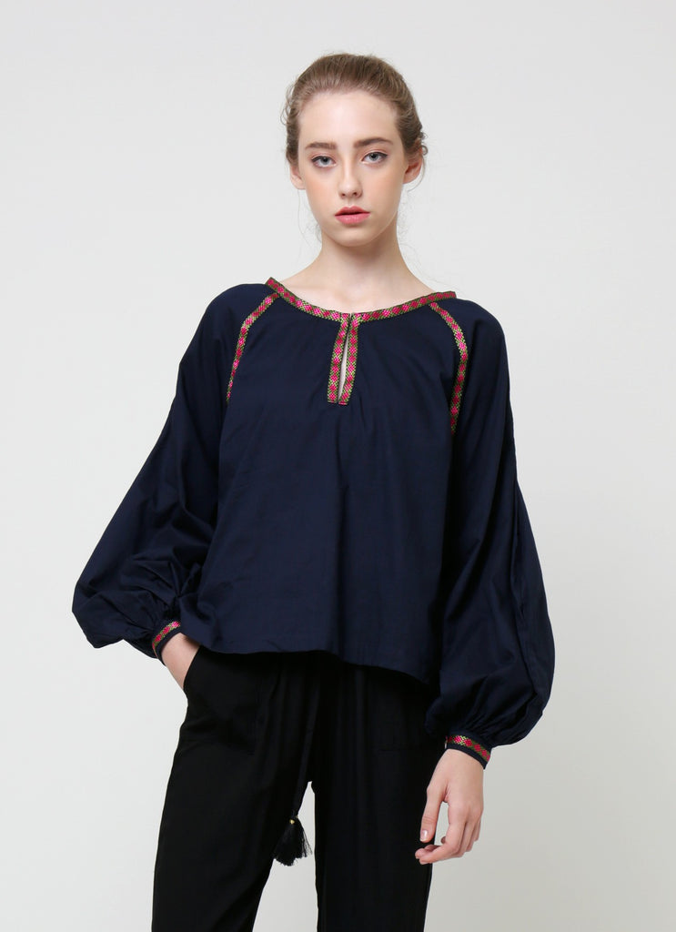 Fatima Blouse - Navy