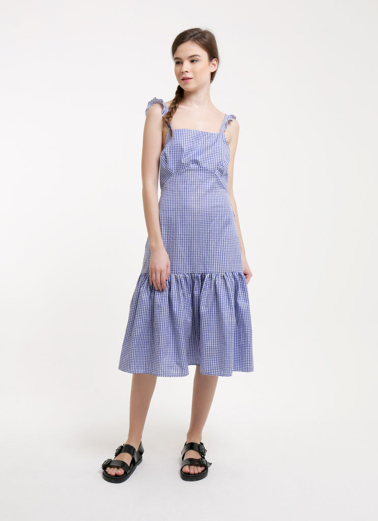 Gia Dress - Gingham Blue