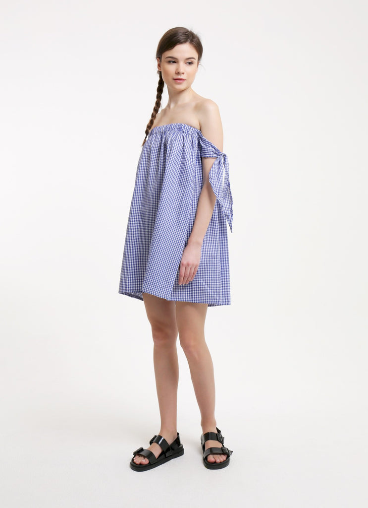 Kayla Dress - Gingham Blue