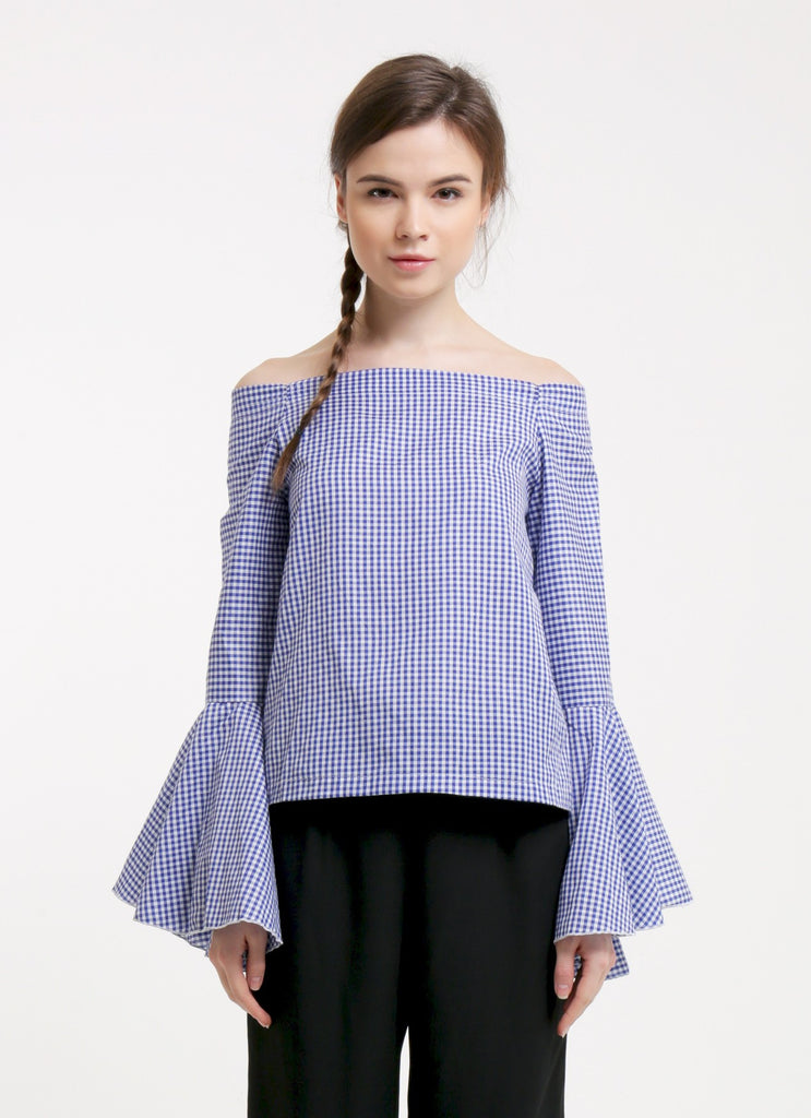 Avery Top - Gingham Blue