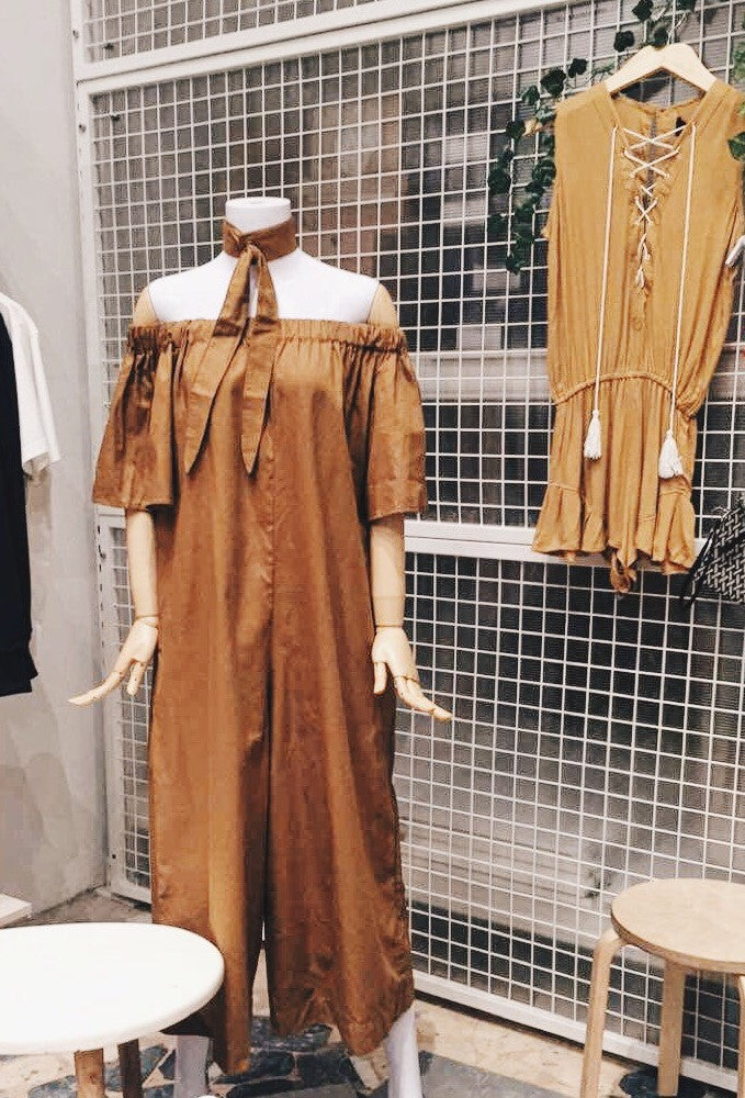 Olympia Off Shoulder Long Jumpsuit Eyelet Necktie - Brown