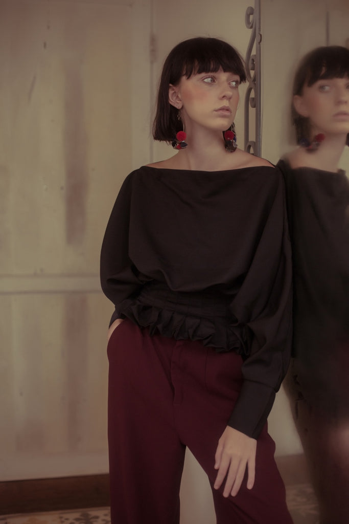 Georgie Oversized Blouse - Black