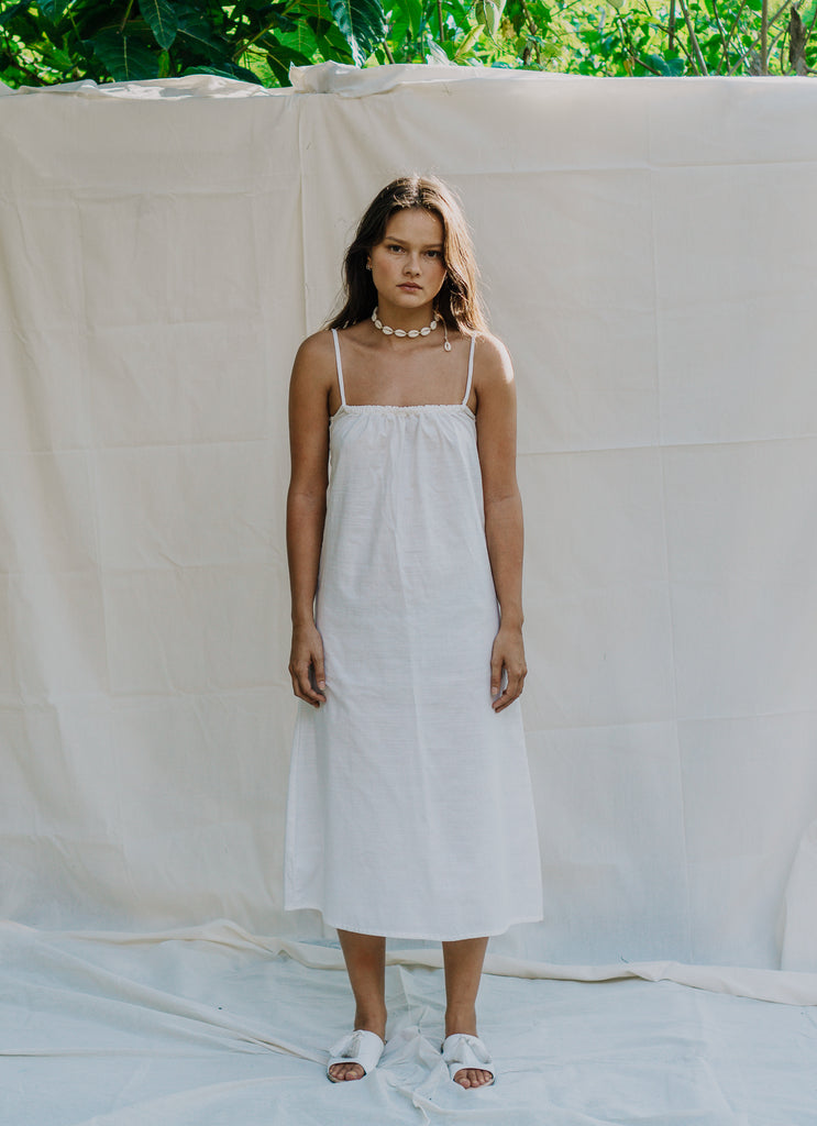 Ula Linen Slip Dress - White