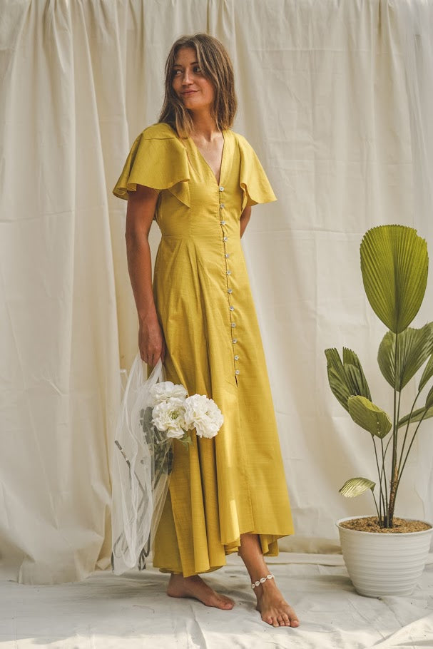 Coraline Linen Maxi Dress - Butterscotch