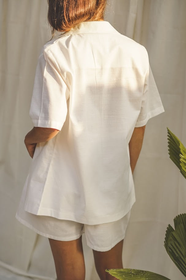 Odine Linen Summer Set - White