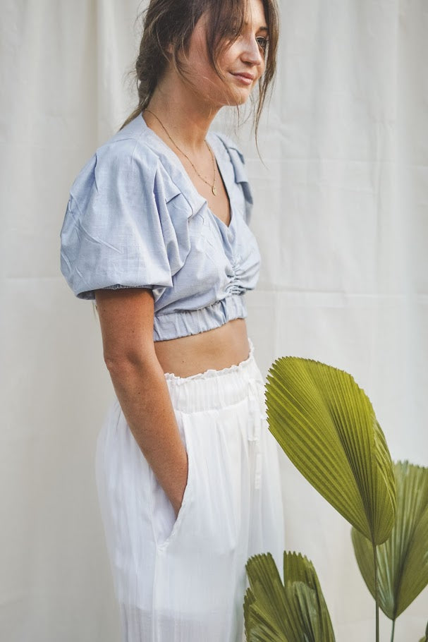 Apia Ruched Linen Crop Top - Light Blue