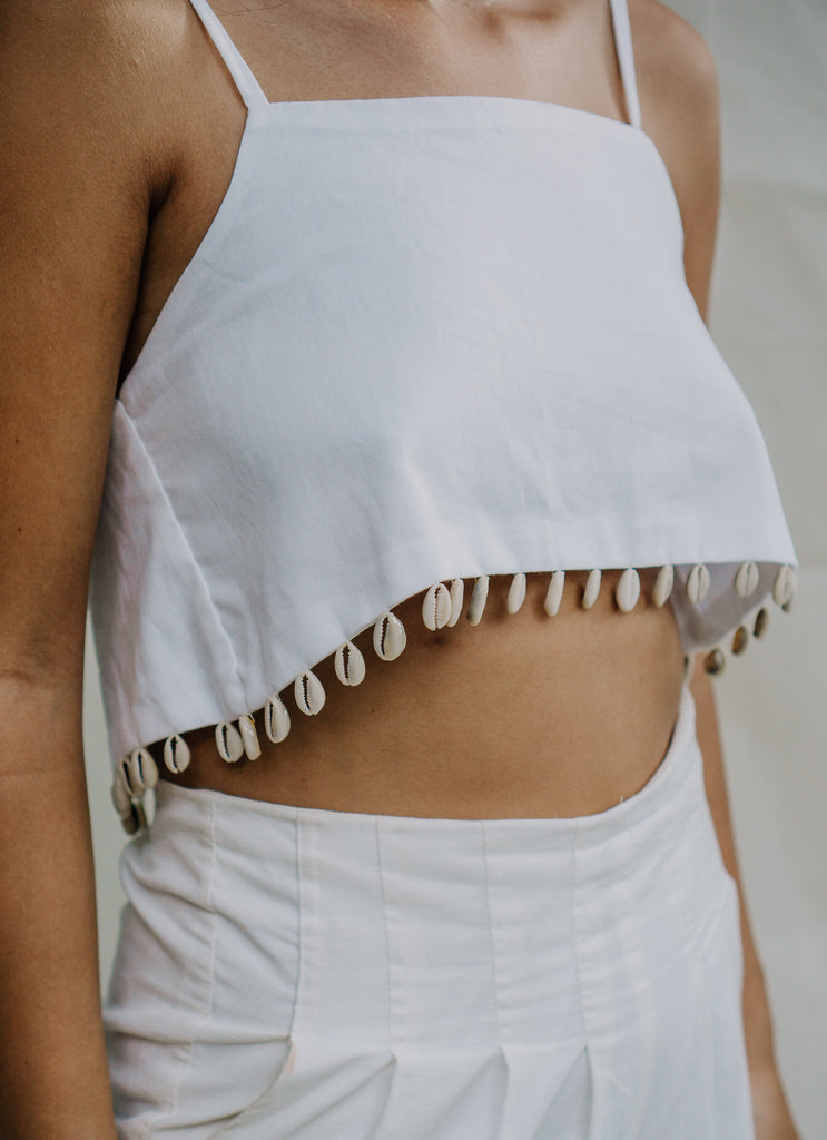 Cowrie Seashell Crop Top - White