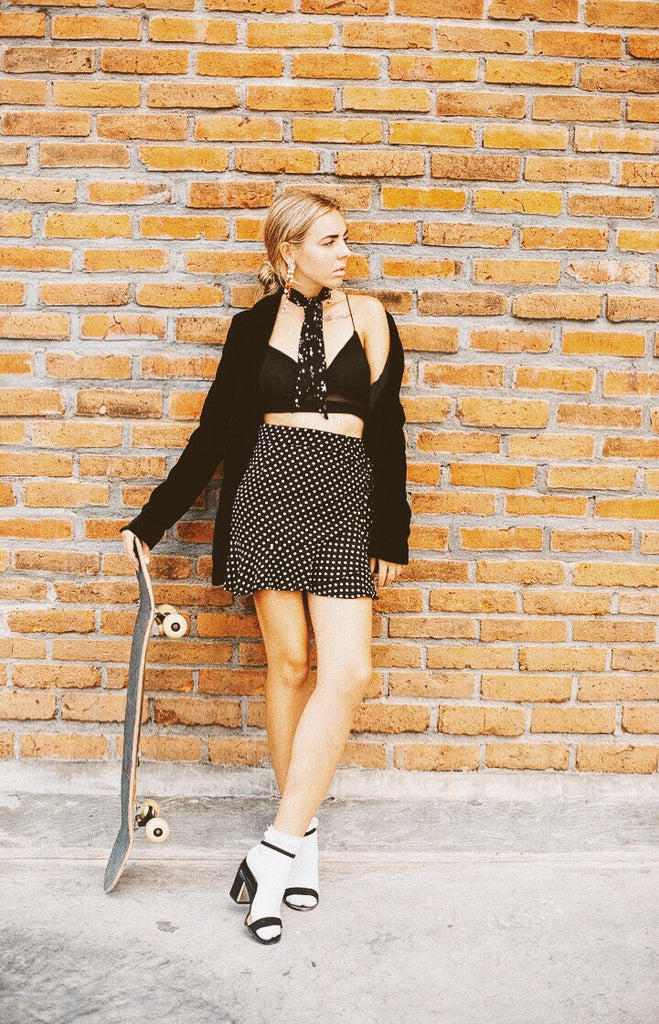 Mimi Wrap Skirt - Black Polkadot