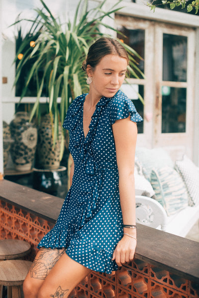 Dolce Wrap Mini Dress - Blue Polkadot