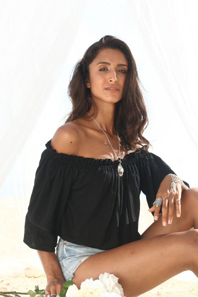 Skye Off Shoulder Blouse - Black