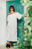 Olympia Off Shoulder Long Jumpsuit Eyelet Necktie - White