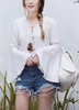 Lou Lou Lace Up Bell Sleeves Blouse