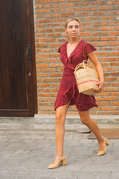 Dolce Wrap Mini Dress - Cherry Polkadot
