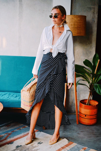 Zoe Maxi Wrap Skirt - Black Polkadot