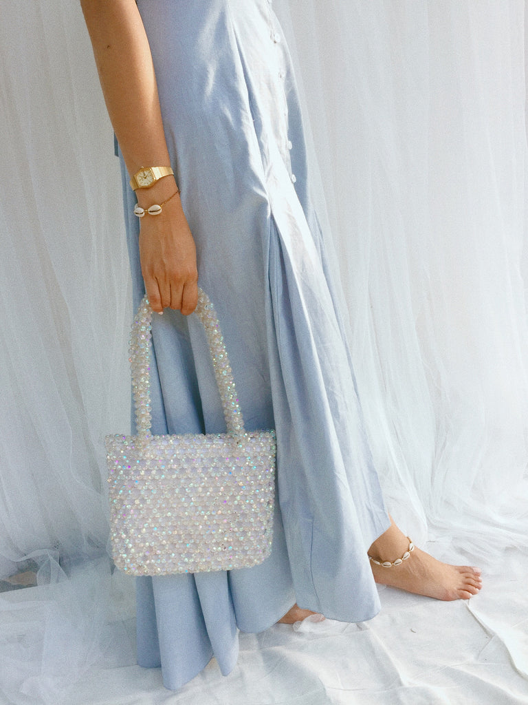 Sparkly Clear Beaded Bag - Clear