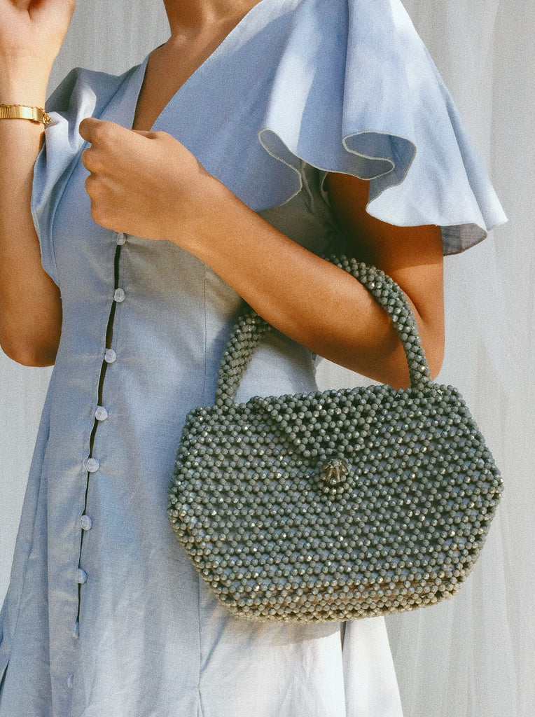 Gray Beaded Bag - Gray