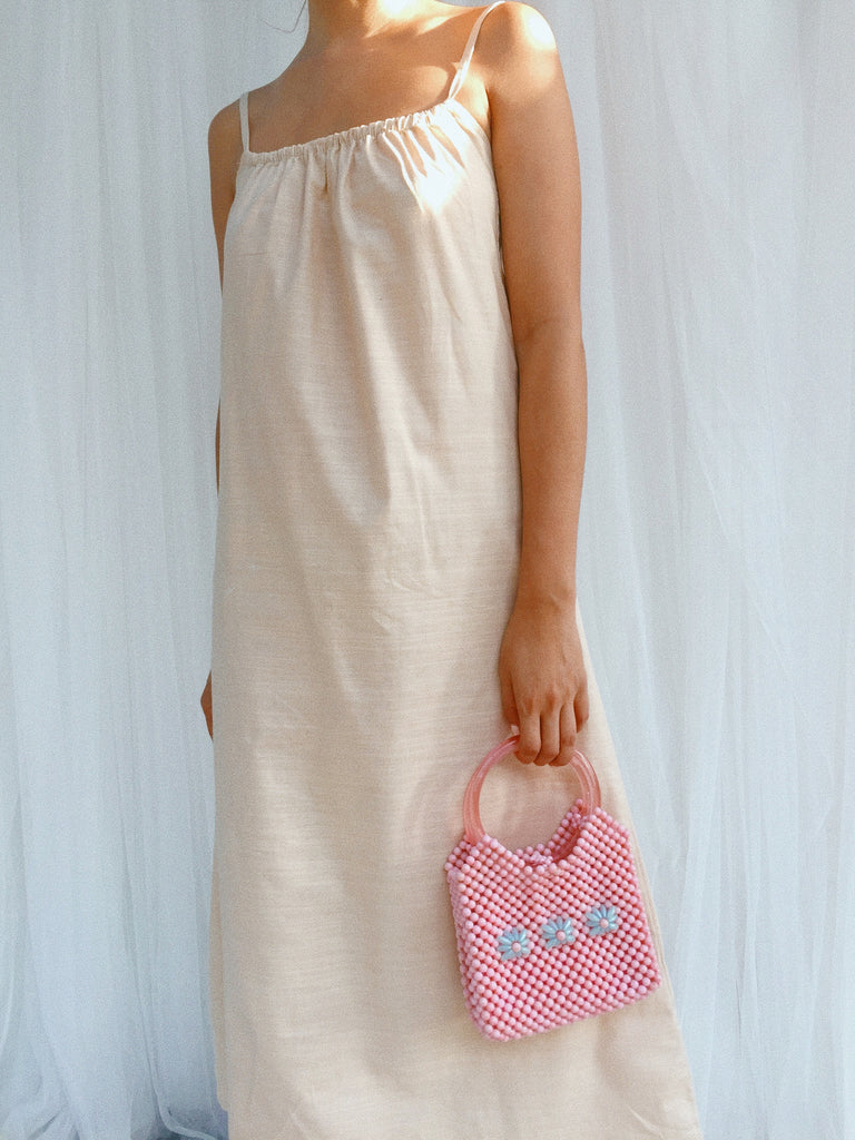 Baby Pink Flower Beaded Bag - Baby Pink