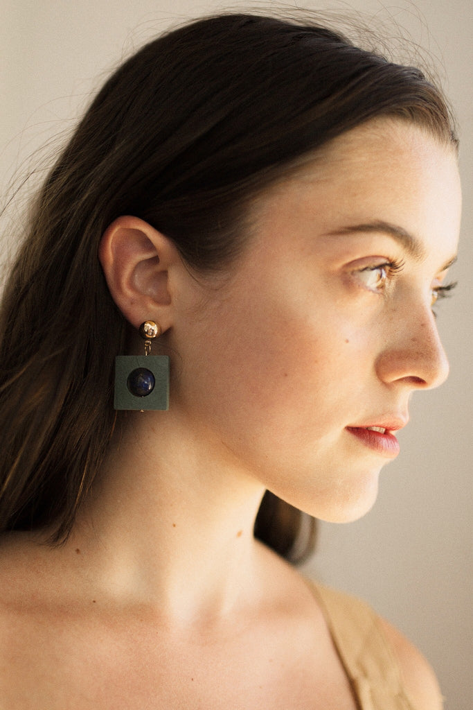 Wooden Etnic Earrings - Green