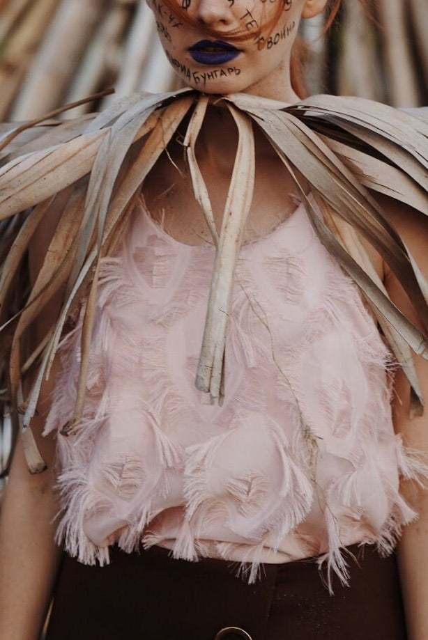 Feather Top - Pale Pink
