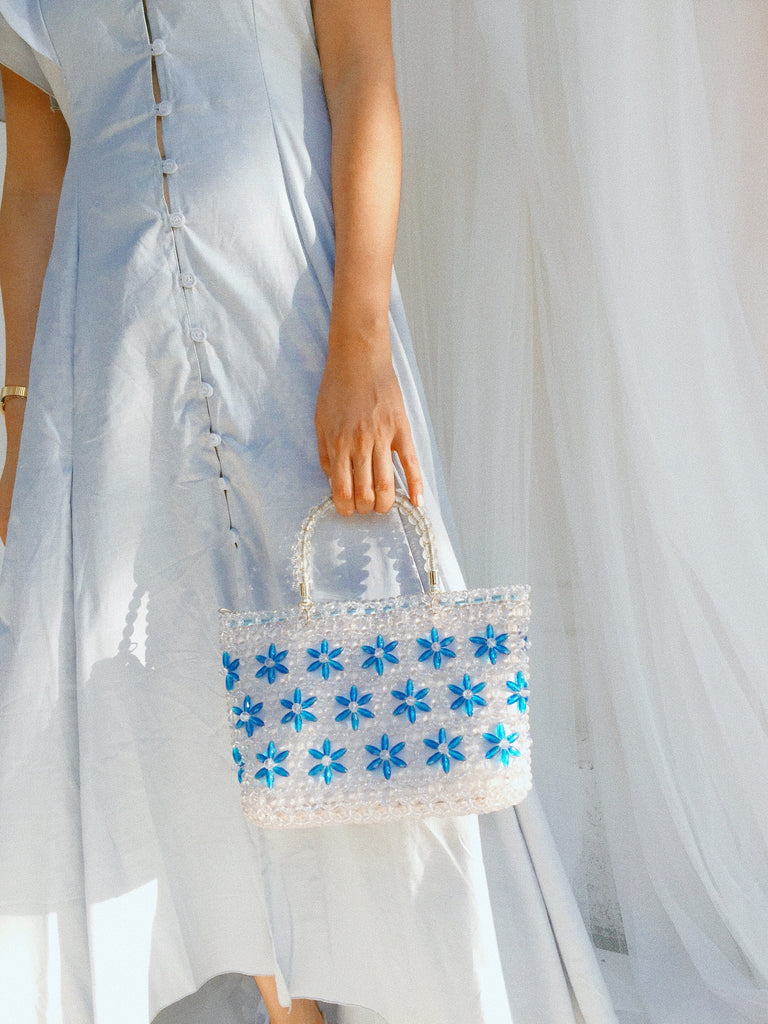 Tote Beaded Bag - Blue Flowers