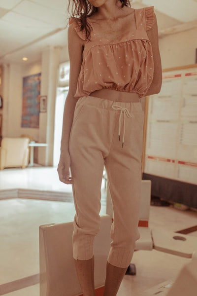 Suede Pink Jogger Pants