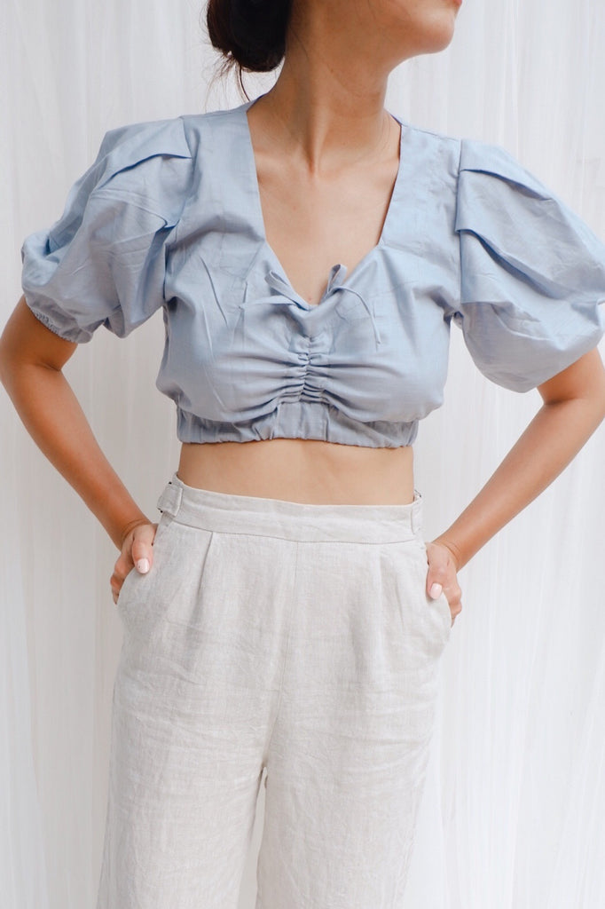 Apia Ruched Linen Crop Top ( Beige, Blue )