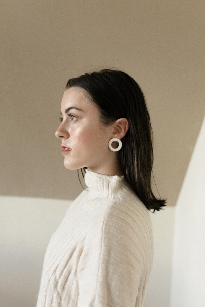 Wide White Ring Earrings