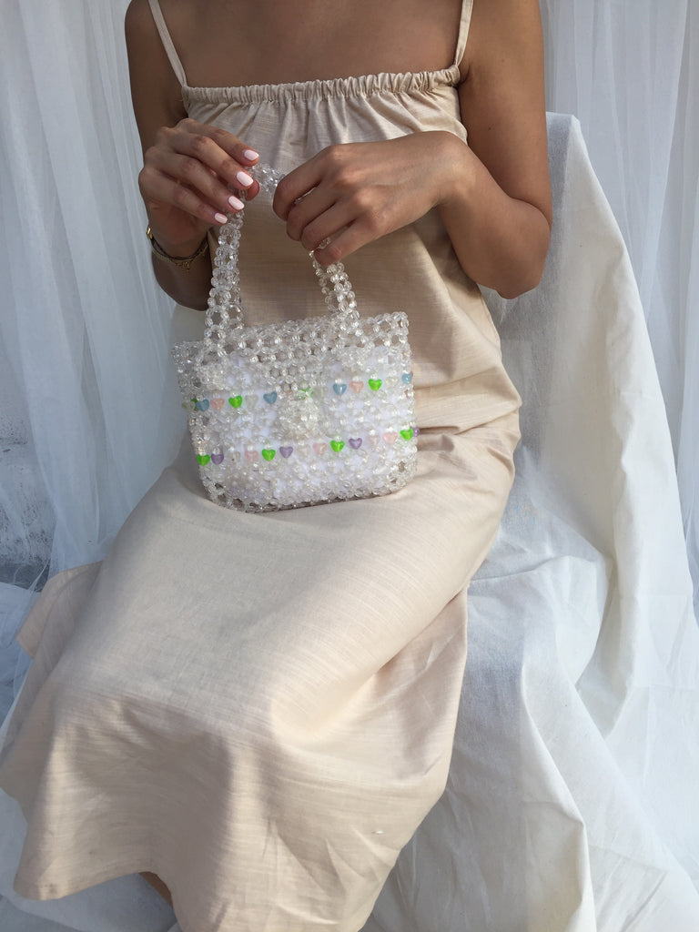 Clear Hearts Beaded Bags - Transparant