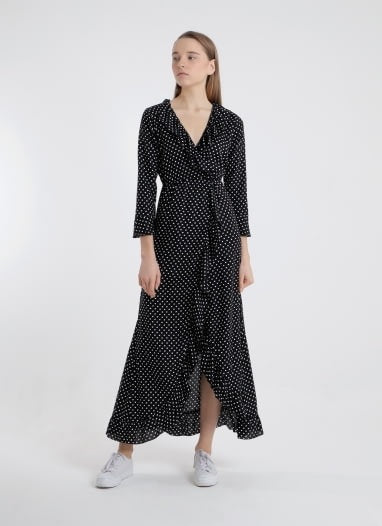 Dolce Wrap Maxi Dress - Black Polkadot
