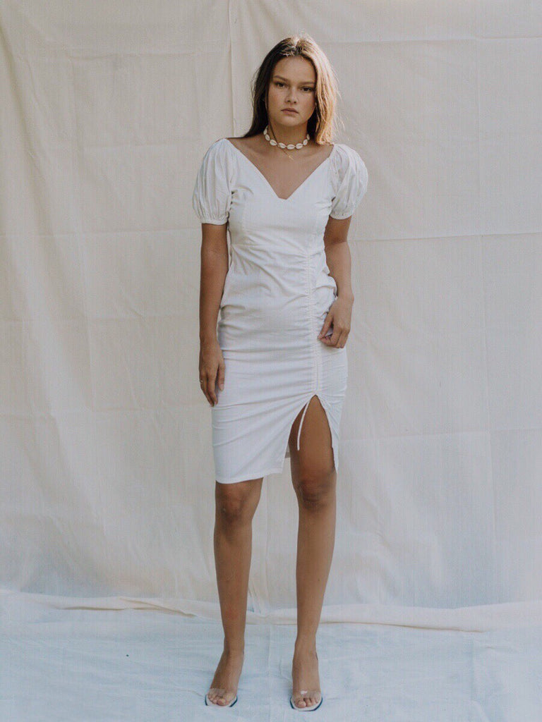 Masica Ruched Dress - White