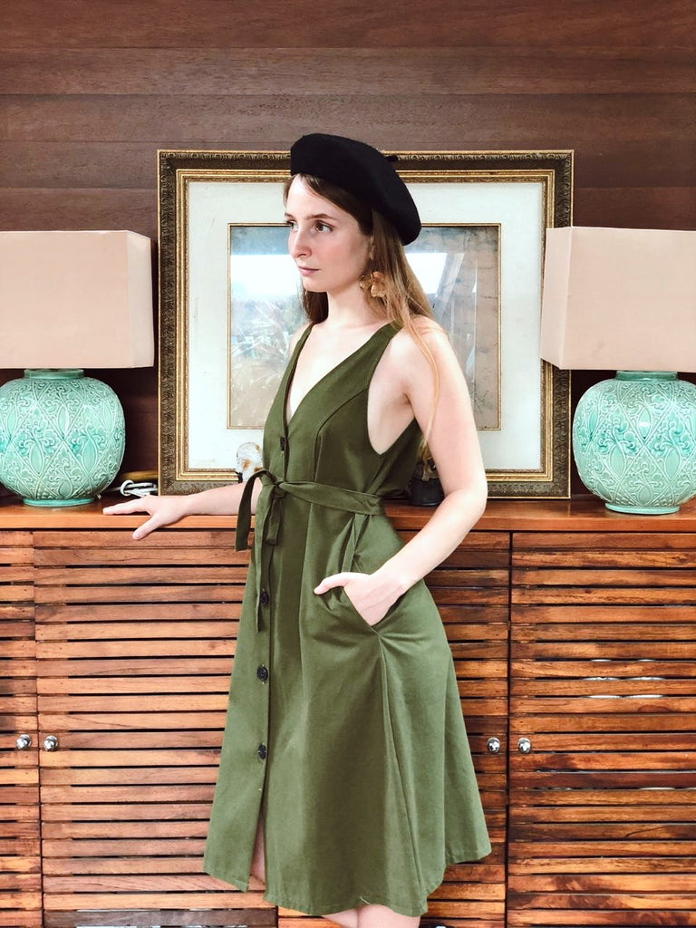 Sleeveles Trench Dress - Green