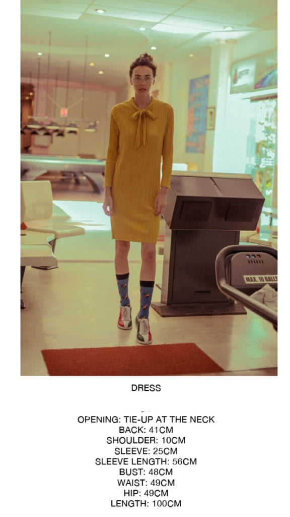 Yellow Knit Tie Dress