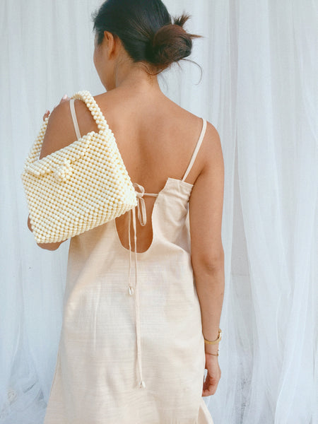 Box Pearl Beaded Bag - Cream